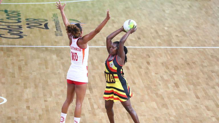Uganda's Halima Nakachwa finds no way past England's Serena Guthrie