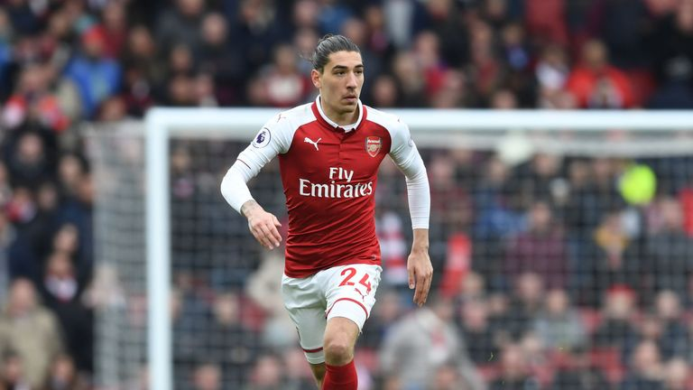 Hector Bellerin in action during the Premier League match between Arsenal and Stoke City at Emirates Stadium on April 1, 2018