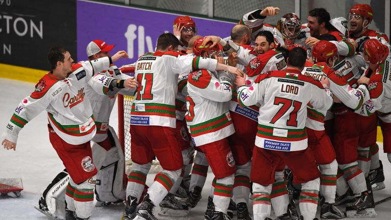 Cardiff Devils players celebrate after beating Sheffield Steelers in the Elite Ice Hockey League play-off final