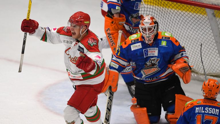 Mark Louis celebrates after Andrew Hotham put Cardiff 2-0 up