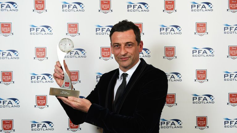 St Mirren's Jack Ross poses with his PFA Scotland Manager of the Year Award