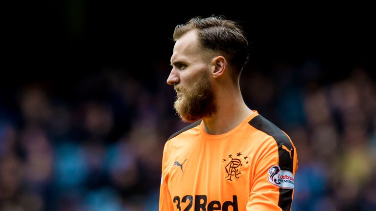 Rangers goalkeeper Jak Alnwick in action against Hearts