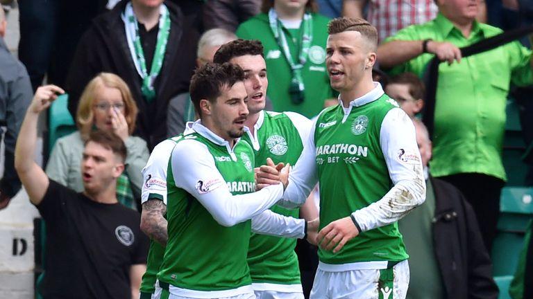 Jamie MacLaren celebrates scoring against Celtic