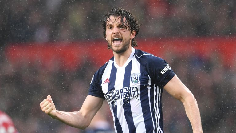 Jay Rodriguez of West Bromwich Albion celebrates after scoring his side's first goal with his team-mates during the Premier League match v Manchester United at Old Trafford