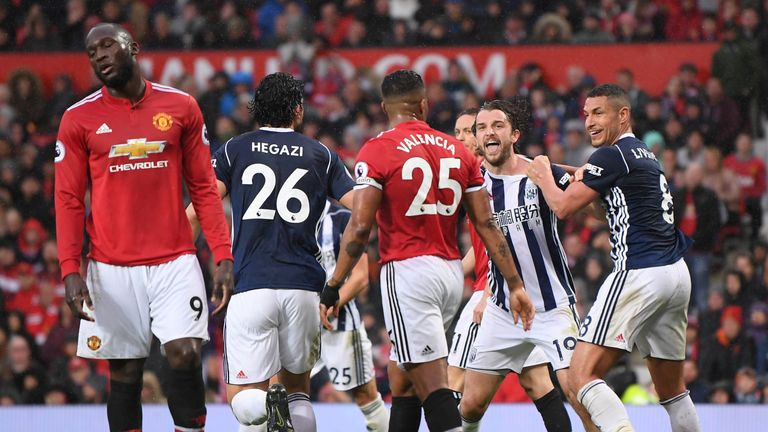 Jay Rodriguez celebrates his goal during the Premier League match between Manchester United and West Bromwich Albion at Old Trafford on April 15, 2018 in Manchester, England.