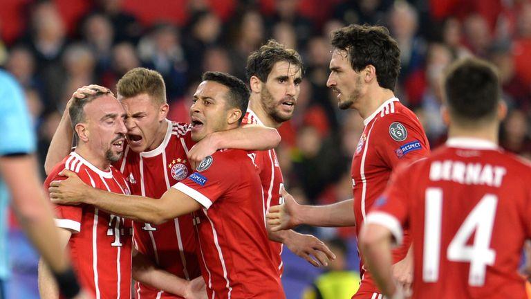 Bayern Munich players celebrate their equaliser
