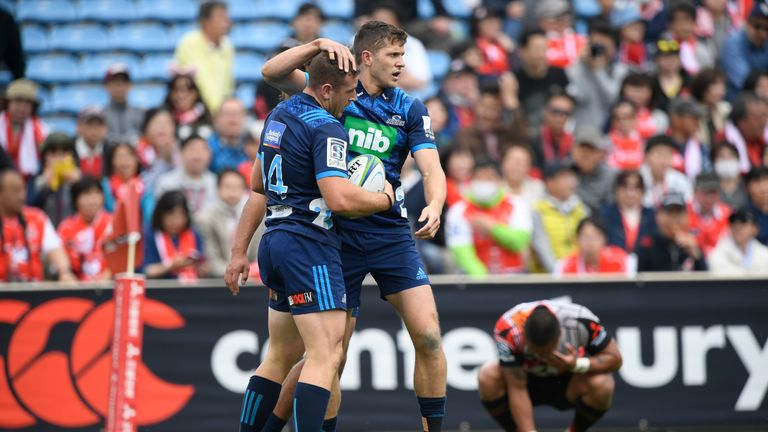 Jordan Hyland celebrates his try in the tight victory over the Sunwolves in Japan