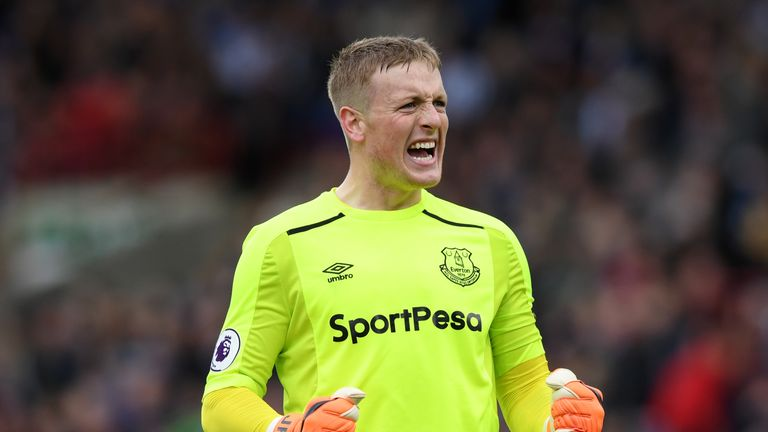 Everton goalkeeper Jordan Pickford celebrates against Huddersfield
