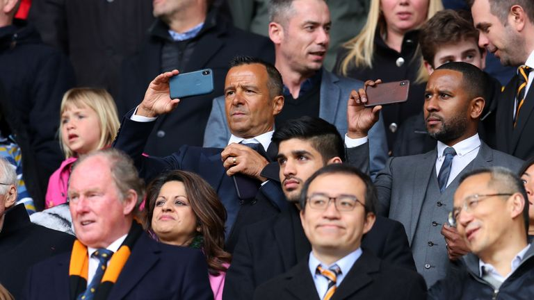 Football agent Jorge Mendes takes a photo during the Sky Bet Championship match between Wolverhampton Wanderers and Birmingham City at Molineux on April 15, 2018