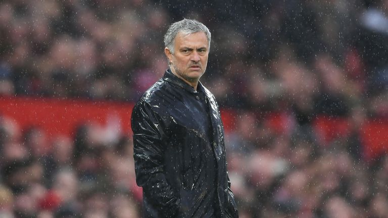 Jose Mourinho looks dejected during the Premier League match between Manchester United and West Bromwich Albion at Old Trafford on April 15, 2018