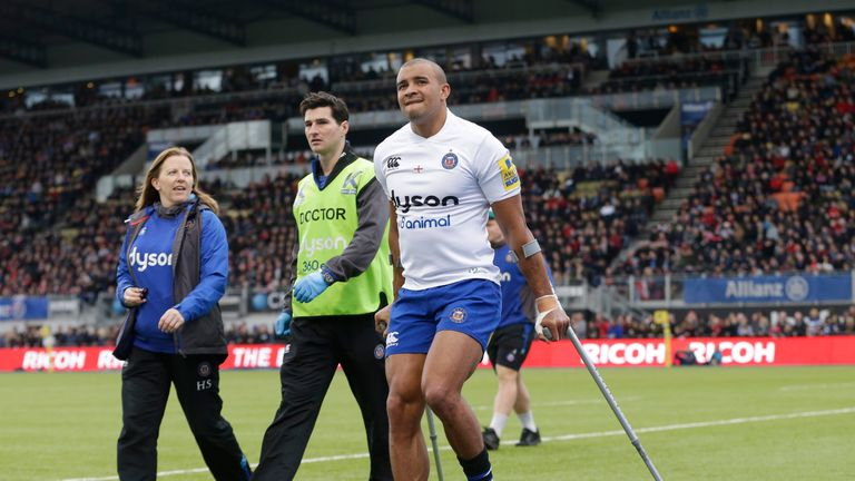 Jonathan Joseph comes off the field with crutches
