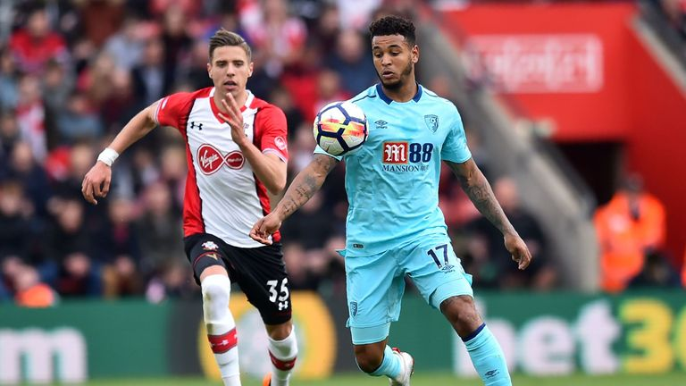 Jan Bednarek in pursuit of Joshua King at St Mary's