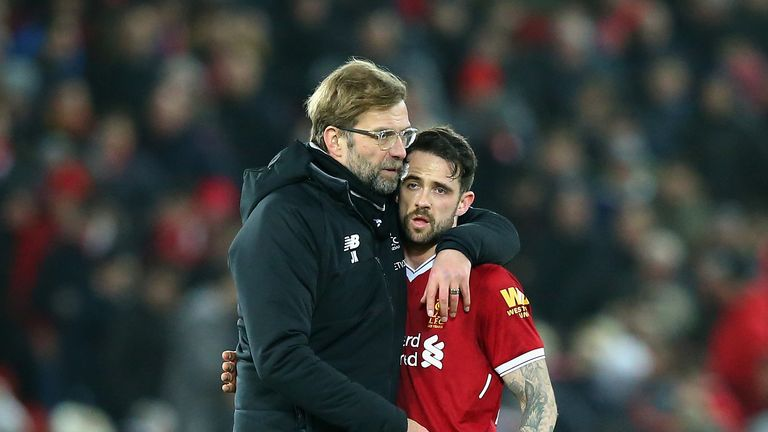 Jurgen Klopp and Danny Ings during The Emirates FA Cup Fourth Round match between Liverpool and West Bromwich Albion at Anfield