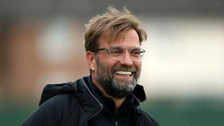 Jurgen Klopp during a Liverpool training session at Melwood ahead of the UEFA Champions League quarter final, second leg against Manchester City