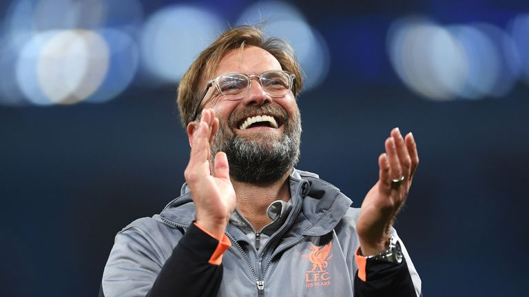 Jurgen Klopp during the UEFA Champions League Quarter Final Second Leg match between Manchester City and Liverpool at Etihad Stadium on April 10, 2018 in Manchester, England.