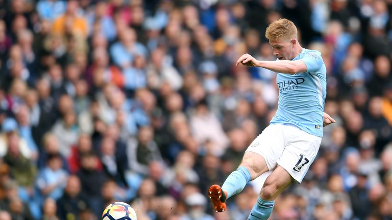 De Bruyne scored a stunning 25-yard strike in Man City's 5-0 win over Swansea