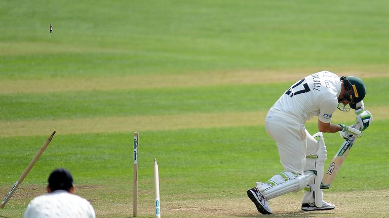 Gregory smashed Daryl Mitchell's stumps on day three at Taunton