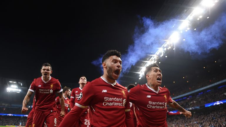 Liverpool celebrate after Mohamed Salah scores against Manchester City in the quarter-final second leg last season
