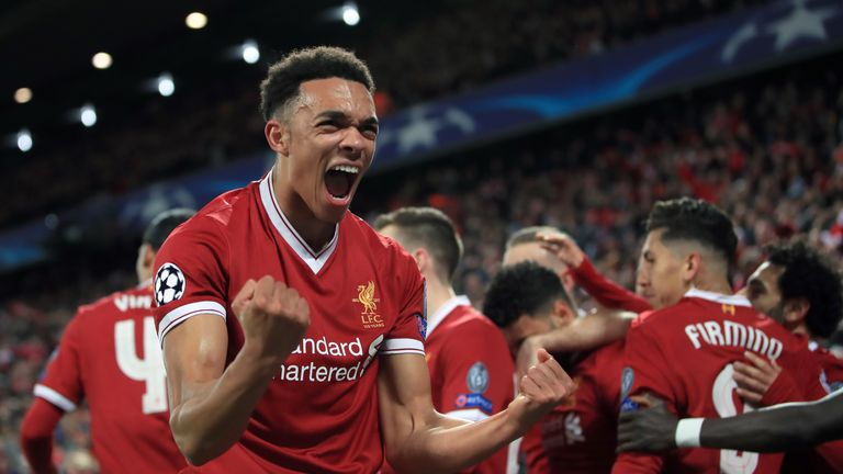 Liverpool's Trent Alexander-Arnold celebrates after Alex Oxlade-Chamberlain (background) scores his side's second goal of the game during the UEFA Champions League quarter-final, first leg match at Anfield