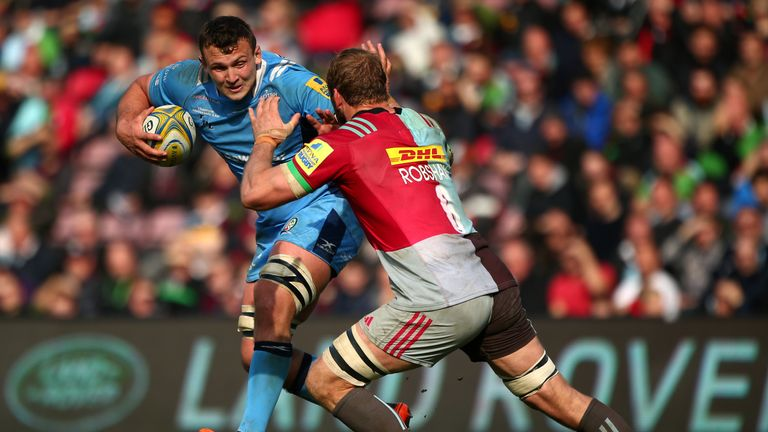 Chris Robshaw is unable to stop Jake Schatz in Harlequins' crushing defeat to London Irish
