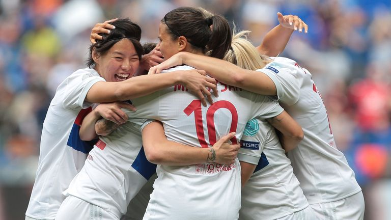 Lyon Feminines celebrate after taking the lead in the Women's Champions League semi-final second leg against Man City Women