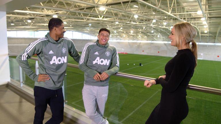 Lingard and Rashford share a joke during their interview