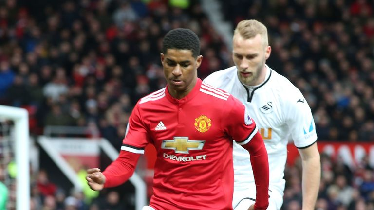 Marcus Rashford during the Premier League match between Manchester United and Swansea City at Old Trafford on March 31, 2018 in Manchester, England.