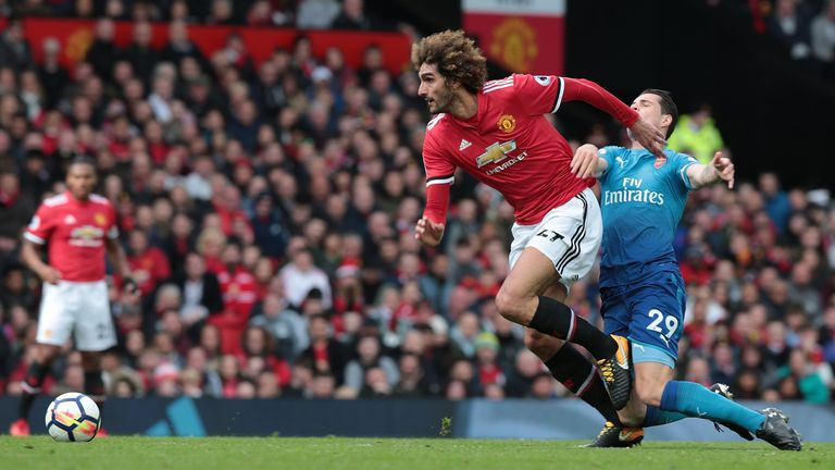 Marouane Fellaini during the Premier League match between Manchester United and Arsenal at Old Trafford on April 29, 2018 in Manchester, England.
