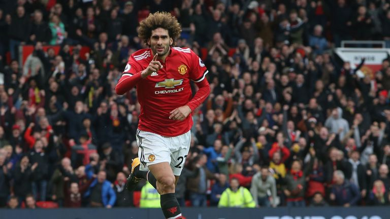 Marouane Fellaini celebrates his winning goal during the Premier League match between Manchester United and Arsenal at Old Trafford on April 29, 2018 in Manchester, England.