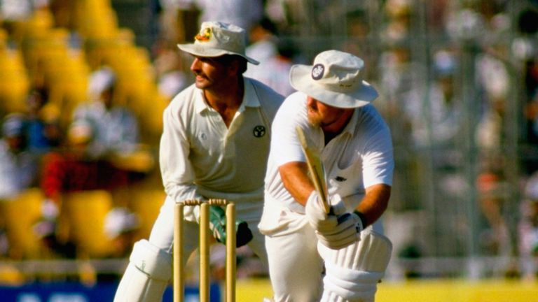 England's Mike Gatting is dismissed by Australia playing a reverse sweep