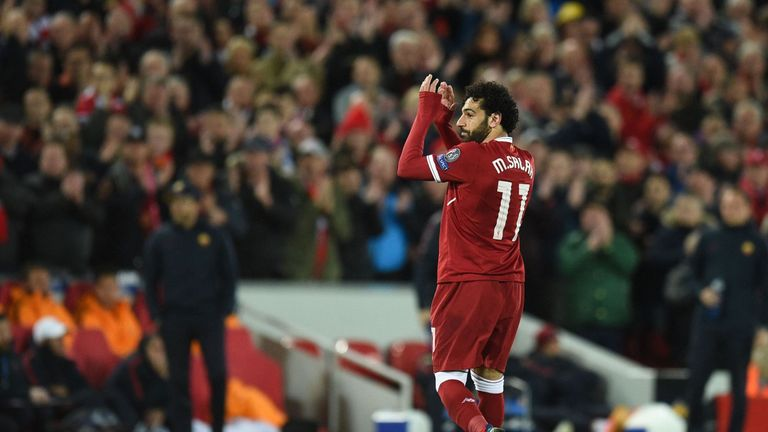 Mo Salah scored twice against Roma in Champions League semi-final first leg