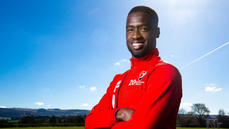 Mohamed Eisa of Cheltenham Town FC is presented with the Sky Bet League Two Player of the Month Award for March 2018 - Rogan/JMP - 05/04/2018 - FOOTBALL - CTFC Training Ground - Cheltenham, England.