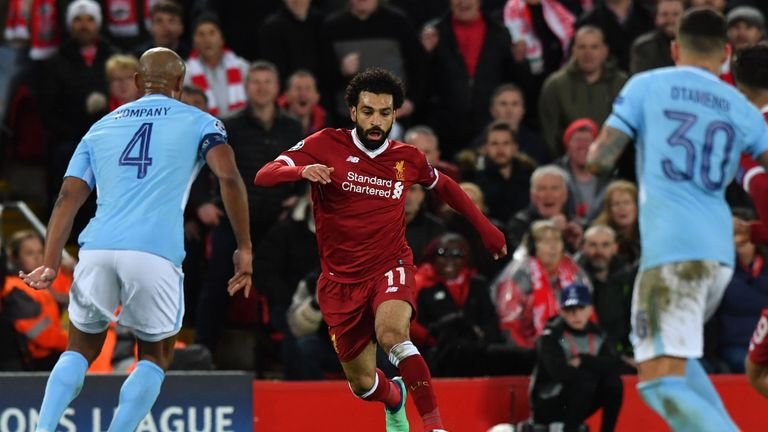 Salah scored in Liverpool's stunning 3-0 victory over Manchester City in the first leg of their all-English Champions League quarter-final