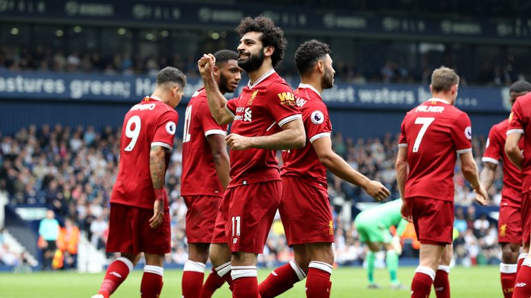 Mohamed Salah celebrates scoring for Liverpool  during the Premier League match between West Bromwich Albion and Liverpool at The Hawthorns on April 21, 2018 in West Bromwich, England.