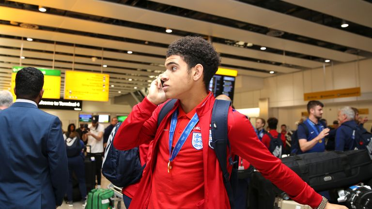 Gibbs-White returns from India with his Under-17 World Cup winners' medal