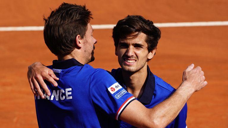 Nicolas Mahut (L) and team-mate Pierre-Hugues Herbert enjoyed a stroll in Genoa