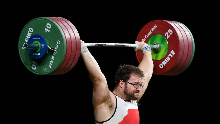 Owen Boxall of England competes in the Men's 105kg final