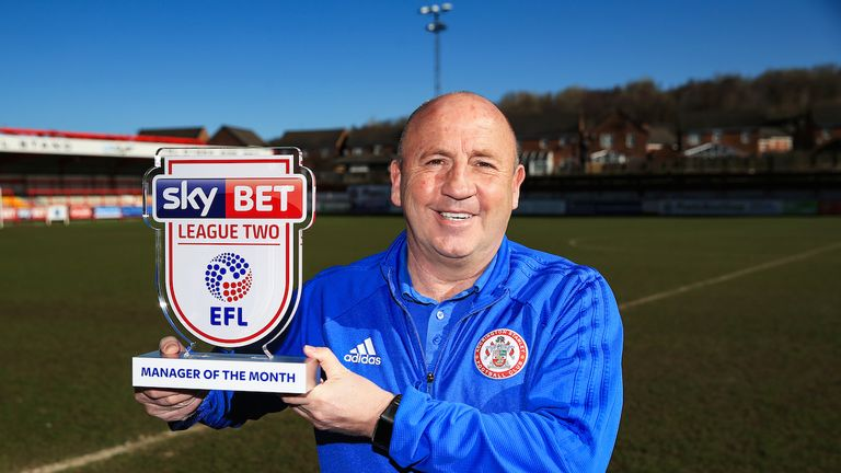 Accrington Stanley manager John Coleman is presented with the SkyBet League 2 Manager of the month award for March 2018 - Mandatory by-line: Matt McNulty/JMP - 05/04/2018 - FOOTBALL - Accrington Stanley - SkyBet League 2 Manager of the Month
