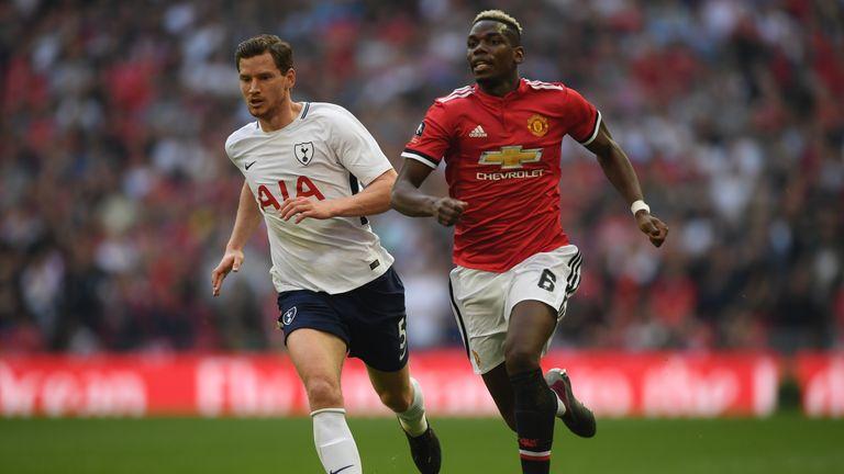 Jan Vertonghen and Paul Pogba Manchester United v Tottenham FA Cup semi-final