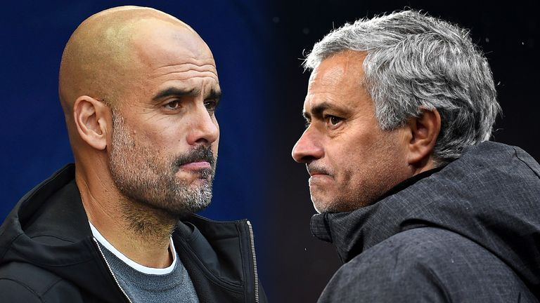 Pep Guardiola and Jose Mourinho face off in the Manchester derby