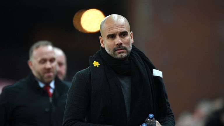 Pep Guardiola during the Premier League match between Stoke City and Manchester City