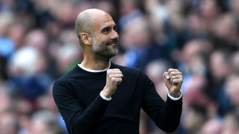 during the Premier League match between Manchester City and Swansea City at Etihad Stadium on April 22, 2018 in Manchester, England.