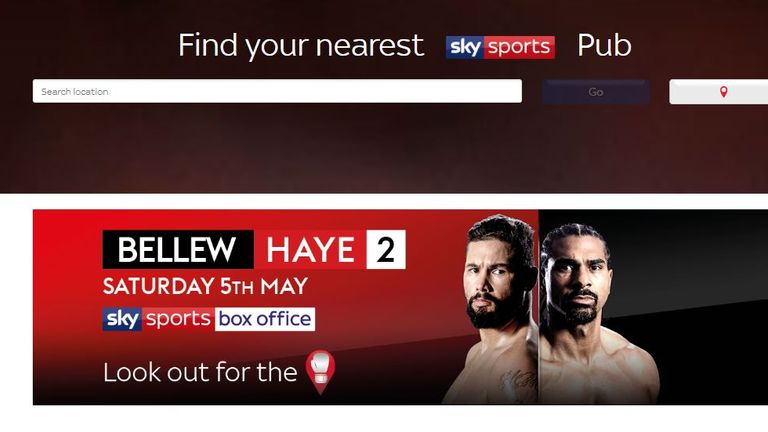 Find a  Sky Sports venue  showing the heavyweight rematch