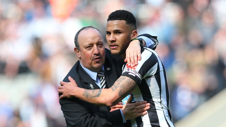 Newcastle United manager Rafael Benitez and captain Jamaal Lascelles embrace each other after the Premier League match against Arsenal