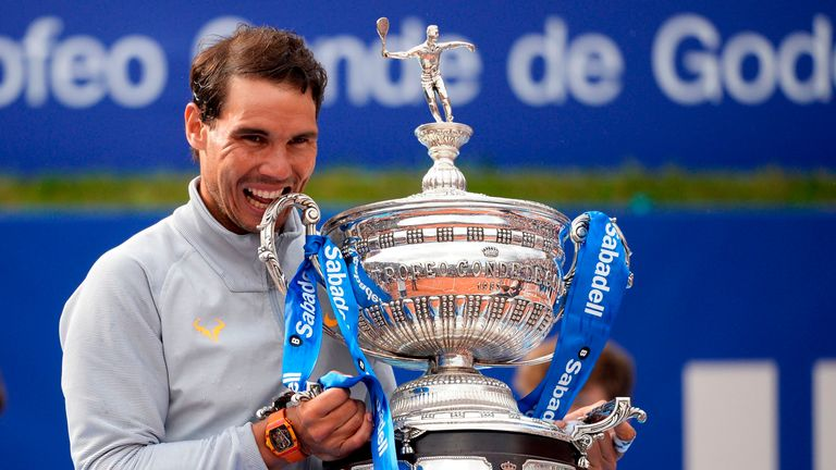 Nadal poses with his trophy after winning the 2018 Barcelona Open