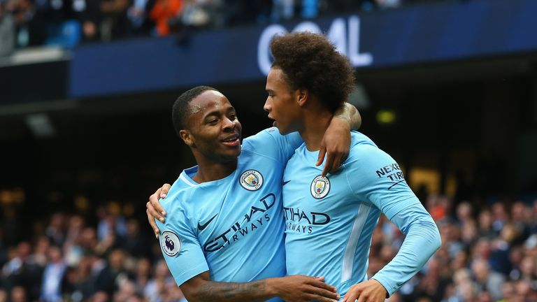 Leroy Sane, Raheem Sterling during the Premier League match between Manchester City and Crystal Palace at Etihad Stadium on September 23, 2017 in Manchester, England.