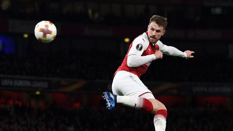 LONDON, ENGLAND - APRIL 05:  Aaron Ramsey scores Arsenal's 3rd goal, his 2nd, during the UEFA Europa League quarter final leg one match between Arsenal FC and CSKA Moskva at Emirates Stadium on April 5, 2018 in London, United Kingdom.  (Photo by David Price/Arsenal FC via Getty Images)