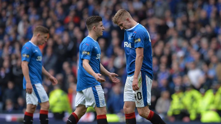 Players during the Scottish Cup Semi Final match between Rangers and Celtic at Hampden Park on April 15, 2018 in Glasgow, Scotland.