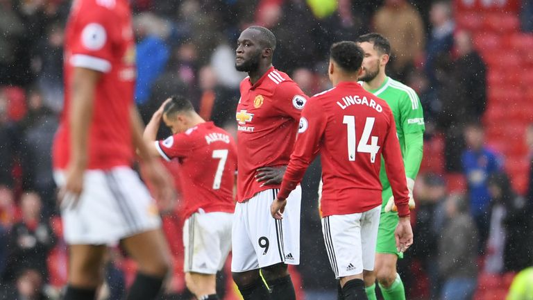 Romelu Lukaku looks dejected after the 1-0 loss to West Bromwich Albion at Old Trafford