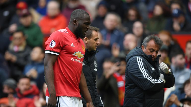 Romelu Lukaku was brought off injured early in the second half